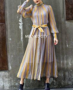 100% seda 2020 Summer Collection australiana de lujo de diseño casual Calidad Marca Bohemia Linterna de cuello alto con cinturón vestido de la raya del arco