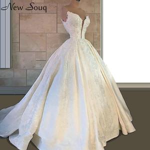 Barrido de marfil elegante vestidos de novia de cuello V 2020 Una línea de tren apliques Vestidos nupciales por encargo de vestito de novia