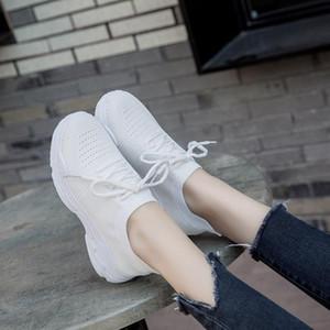 Vente-Chaussures de sport blanc chaud Chaussures Femme coco Version Femme Harajuku respirantes Chaussettes élastiques Chaussures de sport sauvage légers