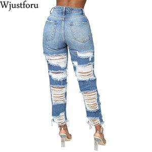 Wjustforu casuales pantalones vaqueros rasgados alto de las mujeres elásticos del lápiz de empuje hacia arriba de cintura alta Jeans Denim Mujer Plus Tamaño Pantalones Vestidos