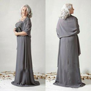 Sommer-Chiffon- eine Linie Mutter der Braut-Kleider mit Schal Lange Spitze Appliqued Abendkleid Hochzeit Kleider