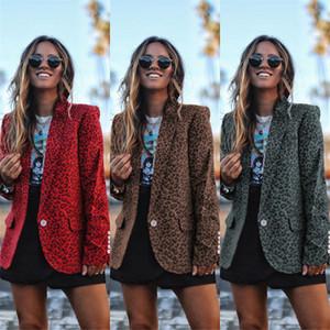 Düğme Uzun Kollu Bayan Yaka Yaka İnce Suit ile Moda Tasarımcısı Kadınlar Blazer Leopard Baskı Ceket