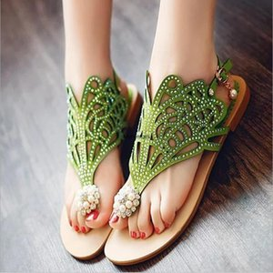 shoes sandals female summer 2019 new casual flat student shoes fashion hollow beaded rhinestone beach sandals CS-264