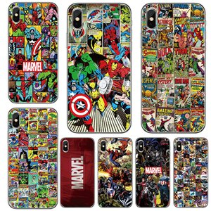 Custodia per iPhone 8 7 6 6S plus x xs max xr 5 5s se Custodia in silicone Comic Marvel Custodia per cellulare in TPU morbido ultra sottile di lusso