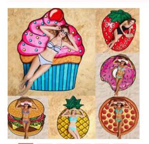 New Fashion Pizza Doughnut Chips Beach Towel Outdoor Picnic Mat Soft Blanket Decor Travel Summer Camping Beach Towel Mat Blanket