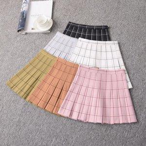 NiceMix primavera verano ulzzang a cuadros plisada falda faldas femeninas una línea de faldas estudiante estilo de la universidad de cintura alta para la danza chicas