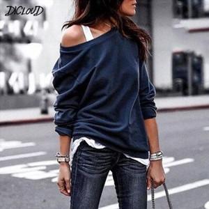 DICLOUD вскользь Свободные толстовки Женщины моды с длинным рукавом сплошной цвет O-образным вырезом Толстовки Женщины Harajuku Плюс Размер Пуловеры Tops