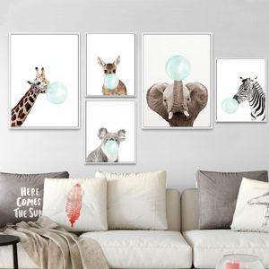 Zebra animal bébé Girafe toile Poster Nursery Wall Art Imprimer Peinture Image nordique Enfants Décoration Enfants Chambre