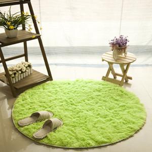 Anti-slip Faux Fur Area Rug Big Round Floor Carpets For Living Room Bathroom Circle Mat Rug Home textile Soft carpetGQ