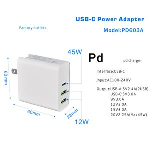 45W PD USB Charger Power Adapter C PD / QC3.0 TYPE-C 3port caricabatterie da muro per USB-C Laptop / MacBook / Xiaomi / Samsung Charger
