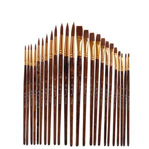 24 pcs set Nylon Hair Watercolor Paint Brushes Different Shape Round Plain Tip Gouache Painting Brush Set Art Supplies