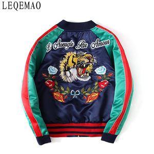 giacca ricamata con primaverili e autunnali lettere tigre alla moda cappotti corti per gli uomini e le donne vestito rigonfio di baseball