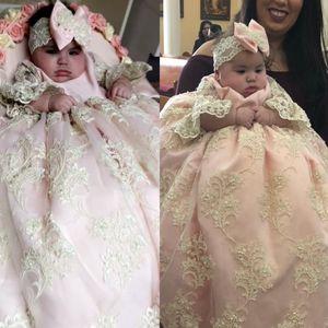 Adorable Robe De Baptême Rose Clair Pour Bébé Fille Infant Toddler Robes De Baptême À Paillettes Dentelle Applique Enfants Première Robe De Communication