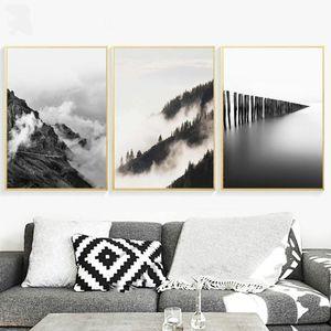 Mountain Lake Pintura de paisagem Minimalismo Canvas Nordic Estilo Posters Hd Art Prints Pictures Para Sala Decoração