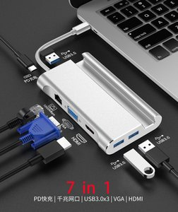 7-en-1 Tipo C concentrador USB C a RJ45 HDMI VGA Puertos USB Hub con TF SD del lector para MacBook Pro de Samsung Huawei nuevas