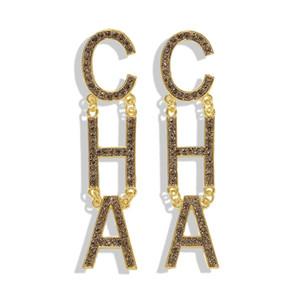 Beliebte Mode Luxus übertrieben große Ohrringe für Frauen Gilrs Funkelnd Diamant Rhinestone Brief Cha Baumeln Kronleuchter Ohrstecker