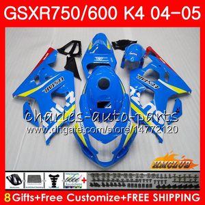 Carroçaria para a Suzuki GSXR 750 GSX R750 GSXR600 GSXR600 04 05 7HC.0 GSXR750 GSXR 600 04 05 K4 GSXR750 2004 azul 2005 Fairing kit Nova Fábrica