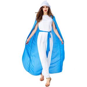 azul y blanco traje de Pascua manto misionero manto monja vestido de cura cura para adultos traje de cosplay halloween hembra
