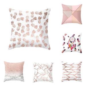 짧은 봉제 베개 커버 기하학 무늬 봉제 pillowcase 인기있는 정사각형 플러시 모피 pillowcase 커버 홈 인테리어 VT0096