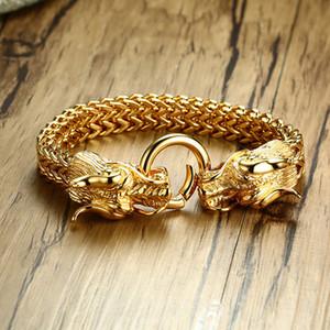 Mingao Punk Titan Stahl Anhänger Männer Gold Dragon Blei Armband Set Modische Male Kette Men Under the Dragon Horn-Armband