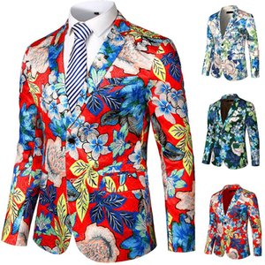 FREE OSTRICH fashion blazer mens jackets and coats Floral Print Suit Notched Lapel Slim Fit Stylish Blazer Jacket Blazers Men