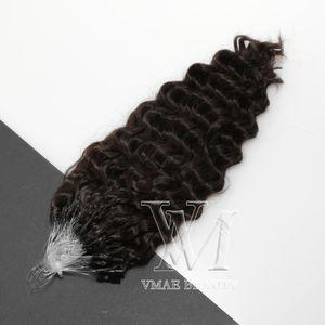 VMAE Micro Loop Ring Hair Extensions 100% Unprocessed Virgin Peruvian Human Hair 3B Curly Micro Loops 1g Strand #2 Darkest Brown 50g 100g