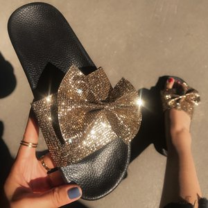 2020Fashion Flash drill Shoes Slides flip flops Summer Beach Indoor Sequin Bow Sandals Slippers House Flip Flops easy matching sandal