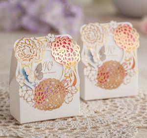 عرس الحسنات هدية مربع زهرة مربعات الحلوى الليزر قطع ورقة حزب جوفاء لصالح صناديق الزفاف الشوكولاته مربع مع فراشة حجمين