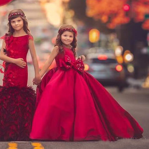 Red Girls Pageant Dresses Jewel Neck Bow Sleeveless Ball Gown Flower Girl Dress For Wedding Custom Made Satin Kids Formal Gown