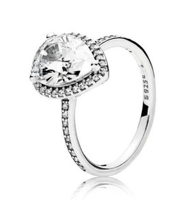 Original 925 Sterling Silver Ring Radiant Large Teardrop Ring With Crystal Rings For Women Wedding Party Gift Fashion Jewelry