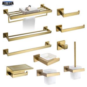 Gold gebürstet Bad-Accessoires Hardware Set Handtuchhalter Schiene Toilettenpapierhalter Handtuchhalter Haken Seifenschale Toilettenbürste T200518