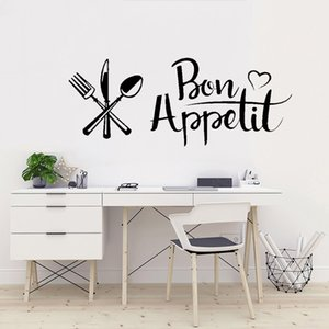 New Kitchen bon appetit wall sticker DIY Knife And Fork Removable Wall Decal Family Home Sticker Mural Art Home Decor