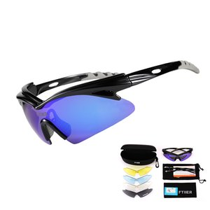 Ftiier Polarized Cycling Glasses 5Lens Bike Outdoor Sport Bicycle Sunglasses Photochromic Goggles Fishing Hiking Riding Eyewear