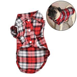 Moda Fransız Bulldog Pug Gömlek Yaz Klasik Plaid Pet Köpek Giyim Köpekler Evcil Giyim Küçük Köpekler Yavru Yelek t-Shirt