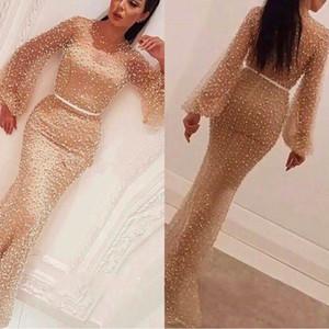 2019 Glitz Crew Gold manches longues robes de bal sirène arabe longueur de plancher perlées Robes de soirée avec des perles Celebrity Pageant Dres