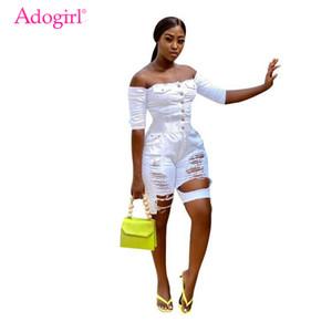 Adogirl Fashion Sexy замороженные вымытые дыры джинсы комбинезоны кнопки косой шеи с плечом половина рукава джинсы шорты ползунки
