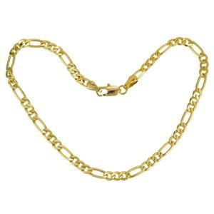 Color oro 4mm Cadena Figaro Enlace plana para el tobillo, pulsera de tobillo de las mujeres de los hombres 9 10 11 pulgadas