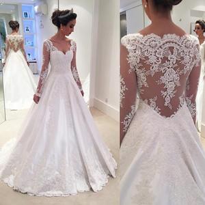 Blanco vintage una línea Vestidos de novia Ilusión Mangas largas País Jardín Vestidos de novia Longitud del piso Encaje Volver Encaje vestito da sposa 2019