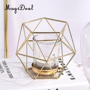 Magideal 8pcs Candleholders Titular del diseño geométrico del alambre de hierro hexagonal Tealight vela Weddding Vacaciones de Navidad Decoración SH190924