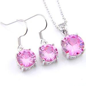 Donne earrigns Pendenti Imposta Luckyshine rotonde Kunzite Gems 925 regalo rosa collane d'argento zircone Partito I monili di trasporto