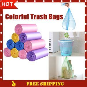 Free Shipping Good Qulity Colored Trash Bags 5 Colors Garbage Bag Storage PVC Plastic Waste Basket Bin Trash Holder Kitchen Bucket Bag