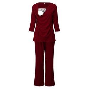 ARLONEET Women's maternity 3 4 Long Sleeve Pajamas Set Suit pregnancy Nursing sleep homewear for breast feeding clothes CN27