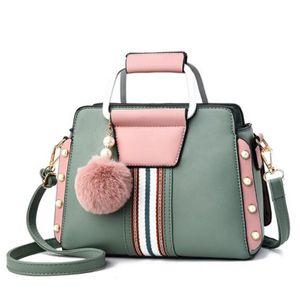 Kontrast Farben elegante Schultertasche modische Frauen Umhängetaschen Pelz-Kugel-Anhänger Rivet Luxuxentwerfer Damen Top-Griff Totes