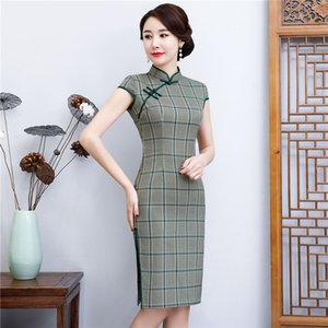 Estate Plaid manica corta Sexy Slim Qipao Midi Abiti Donna Abiti Cheongsams Dress VintageTraditional Abbigliamento cinese M-4XL