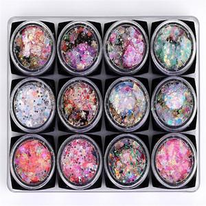 Holo Glitter prego Sequins Mix Coração Lua Pó Estrela Nail Art Foil Flakes Paillette auto-adesivo Nail Art Decoração F579