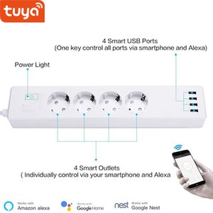 Consumer Electronics Tuya smart WIFI power strip EU standard with 4 plug and 4 USB port compatible with Amazon Alexa and Google Nest