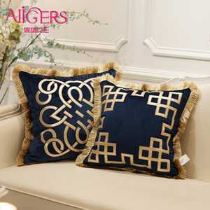 Avigers Luxury Embroidered Cushion Covers Velvet Tassels Pillow Case Home Decorative European Sofa Car Throw Pillows Blue Brown Y200103