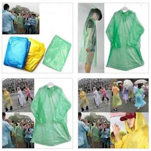 Descartável Raincoat Adulto emergência impermeável capa Poncho Viagem Camping Deve chover Brasão Unisex Um tempo de Emergência Rainwear 500pcs T1I1808