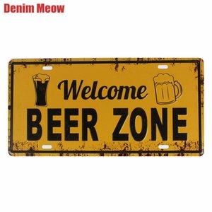 WELCOME BEER ZONE Vintage Metal Tin Signs Car Bar Garage Cafe Decor Wall Painting Art Poster Iron Billboard Plates Plaque N179