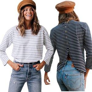 여성의 2019 착용 자켓 돌아 가기 거꾸로 V 버튼 스트라이프 긴팔 셔츠 T 셔츠